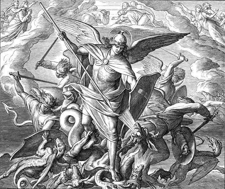Michael And The Angels Fighting The Dragon